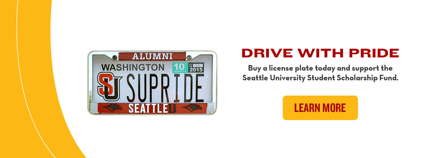 A header graphic advertising the Seattle University license plate. Click through to buy one.