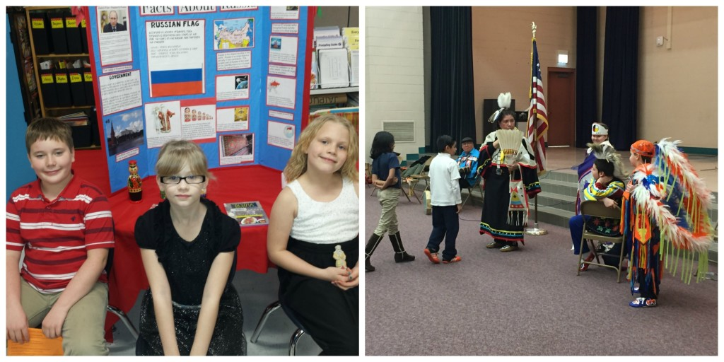 Unity Elementary School, Balsam Lake, WI – Third Grade Festival of Nations Students in front of project board