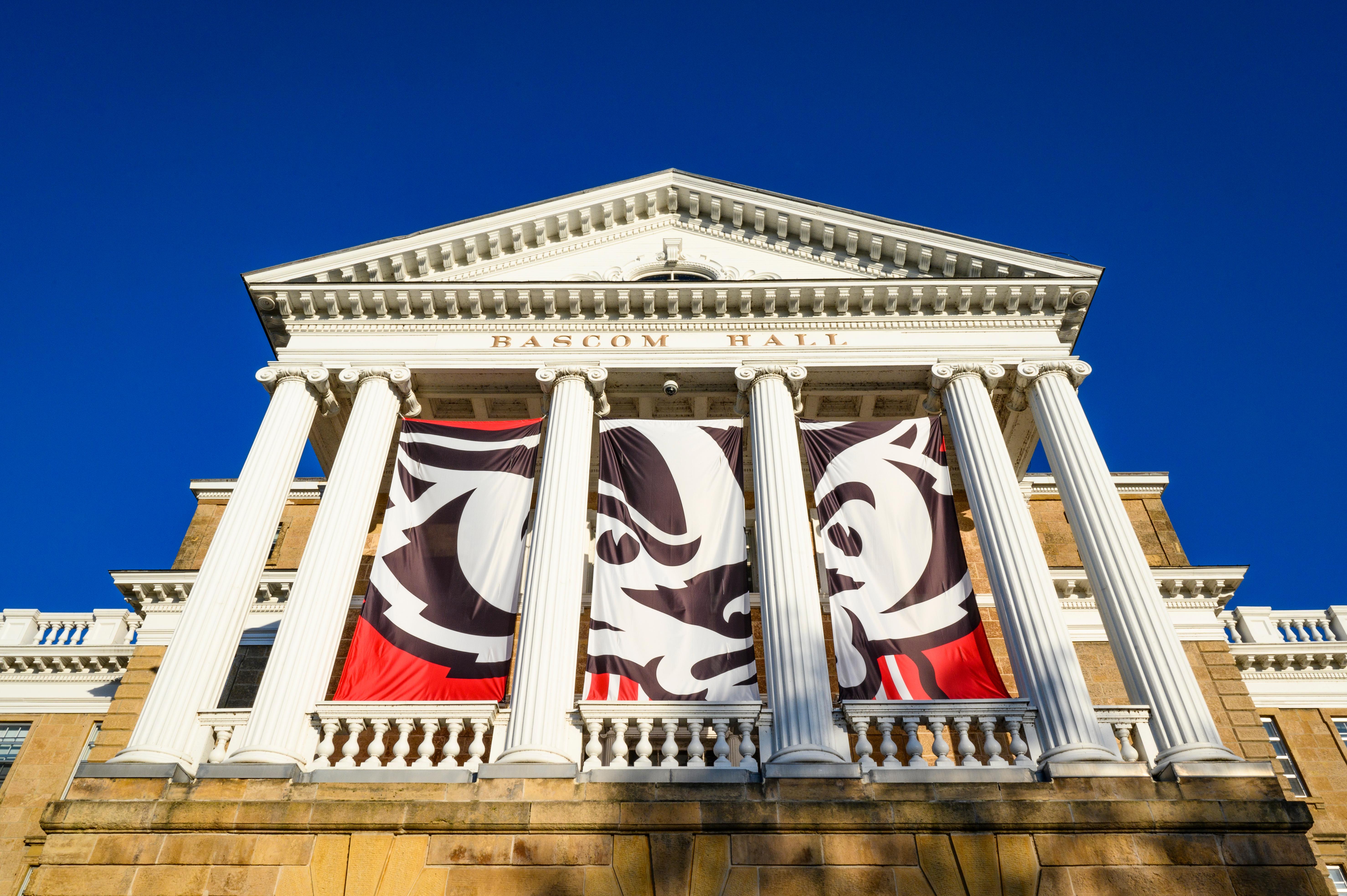 Bascom Hall with Bucky banner