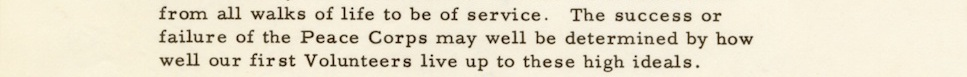 Portion of letter from JFK to Peace Corps Volunteers