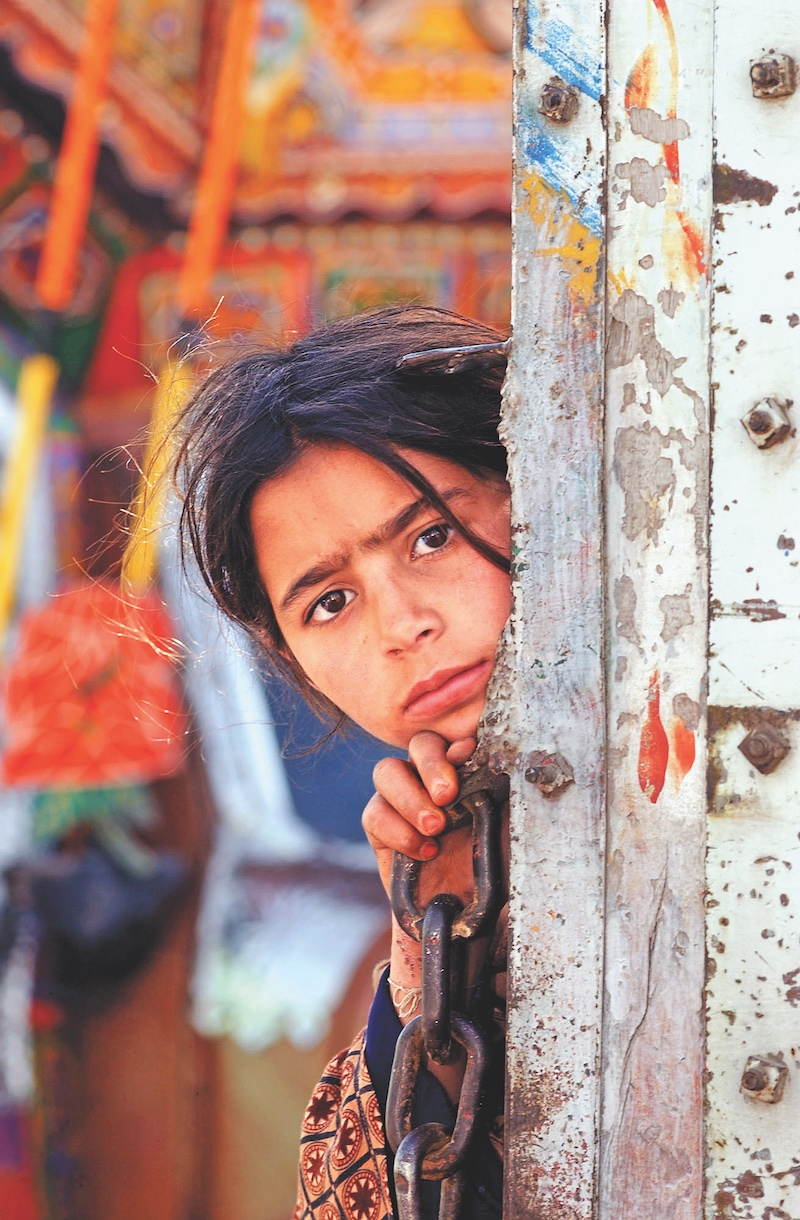 Girl from Afghanistan at UN Refugee Camp