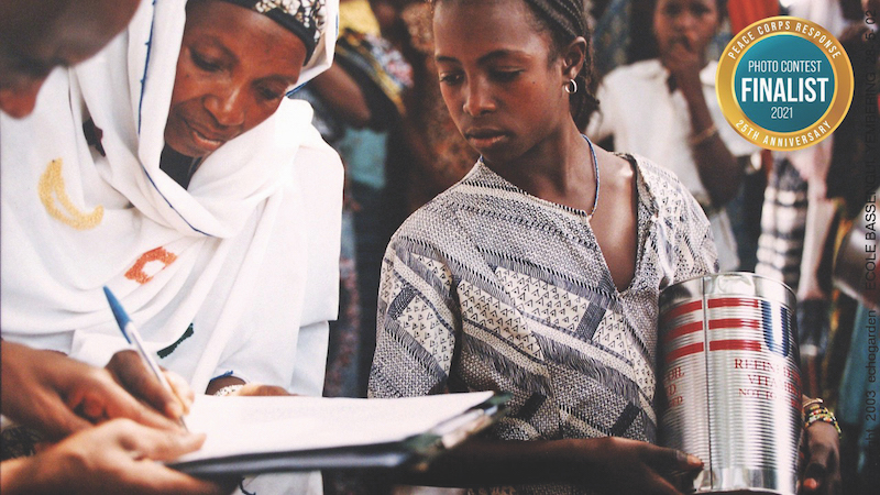Two women in Guinea at World Food Programme distribution of food