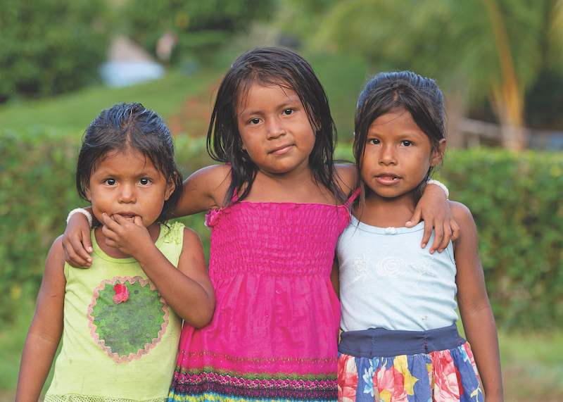Three girls in a village in Panama