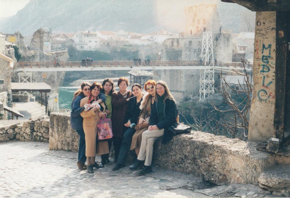 Women on a bridge in Mostar, Bosnia, in 2001