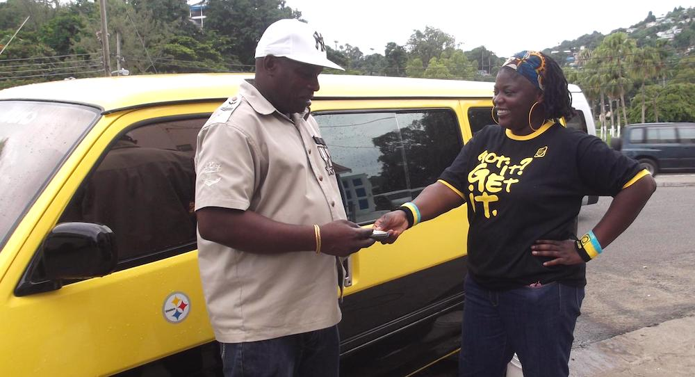 Bus driver talks with HIV-AIDS prevention educator