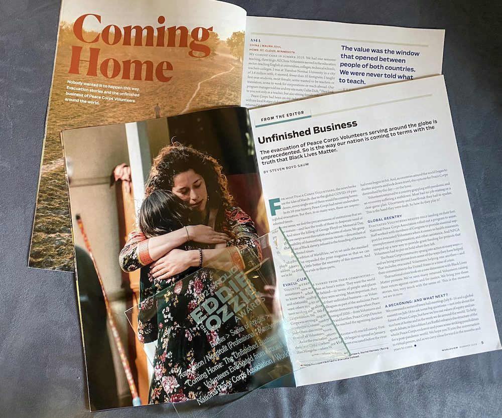 Magazine spread from summer 2020 WorldView magazine about Volunteers being evacuated in 2020