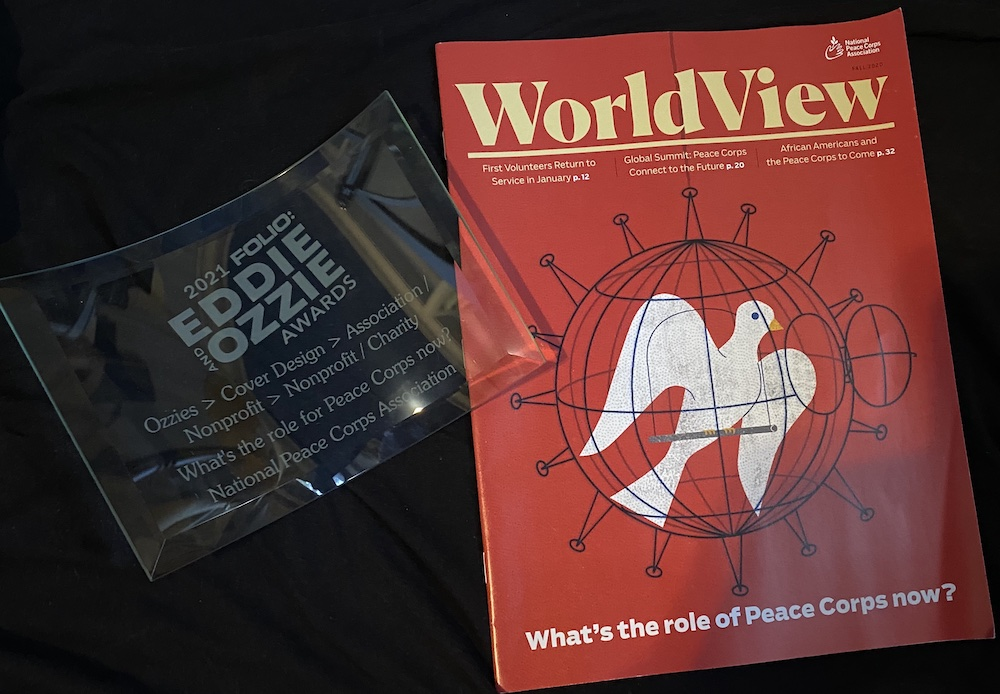 OZZIE Award next to Fall 2020 cover of WorldView magazine