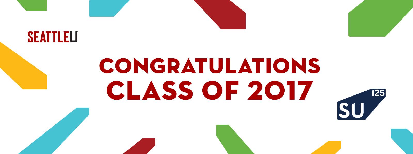 Banner congratulating the class of 2017